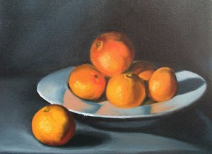 Clementines, oil on canvas